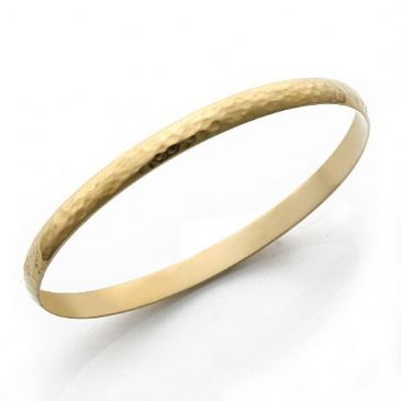 5mm Plain Dome Yellow Gold Hammered Womens Gold Bangle