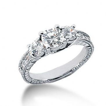 14k Sidestone Diamond Engagement Ring  1.37 ctw.  2000-ENGSS14K-735