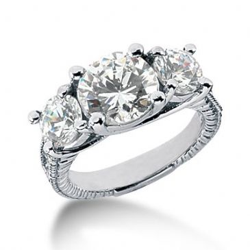 18K Side Stone Diamond Engagement Ring 4.38ctw 2001-ENGSS14K-758