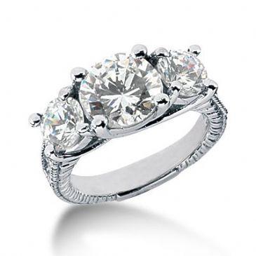 Platinum Side Stone Diamond Engagement Ring 4.38ctw 2001-ENGSS14K-758