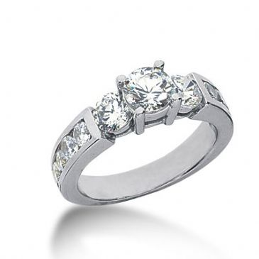 14K Side stone Diamond Engagement Ring   1.81 ctw 2002-ENGSS14K-6025