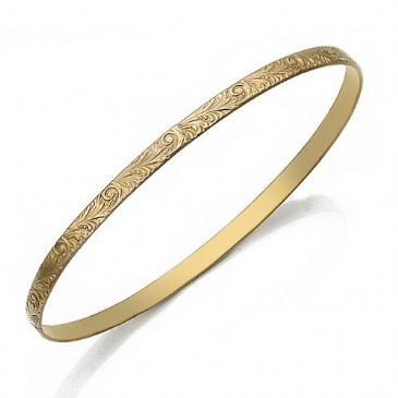 4mm Classic Flat Design Moroccan Womens Bangle  001-4FCDMWB