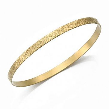 4.5mm Classic Flat Design Moroccan Womens Bangle  015-45FCDMWB