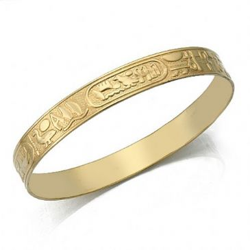 10mm Flat Egyptian Pattern Womens Bangle  030-10FEPWB