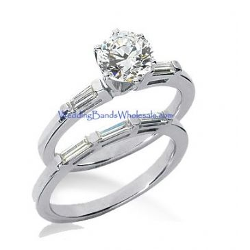 Platinum Diamond Engagement Bridal Set 1.39ctw. 4002-PLATENBR-833