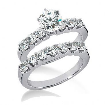 18K Gold Diamond Engagement Bridal Set 2.30ctw. 4003-18KENBR-130