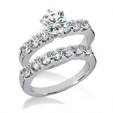 18K Gold Diamond Engagement Bridal Set 2.30ctw. 4003-18KENBR-130