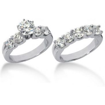 18K Gold Diamond Engagement Bridal Set 3.70ctw. 4004-18KENBR-136