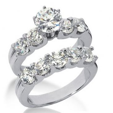 Platinum Diamond Engagement Bridal Set 3.70ctw. 4004-PLATENBR-136