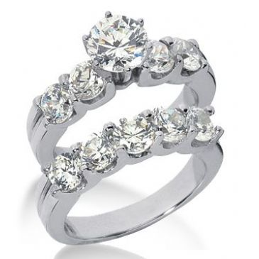 Platinum Diamond Engagement Bridal Set 5.05ctw. 4005-PLATENBR-138