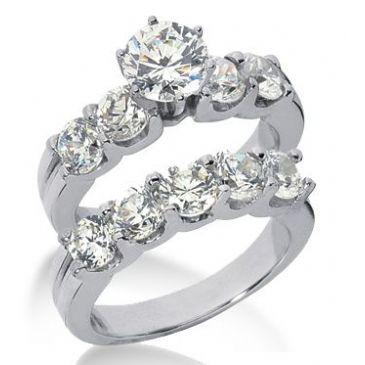 Platinum Diamond Engagement Bridal Set 5.05ctw. 4005-PLATENBR-138