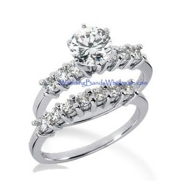 18K Gold Diamond Engagement Bridal Set 1.65ctw. 4006-18KENBR-140