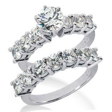 14K Gold Diamond Engagement Bridal Set 3.60ctw. 4008