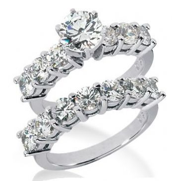 Platinum Diamond Engagement Bridal Set 3.60ctw.