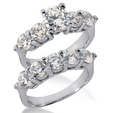 18K Gold Diamond Engagement Bridal Set 4.15ctw. 4009-18KENBR-262