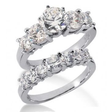 18K Gold Diamond Engagement Bridal Set 3.09ctw 4010-18KENBR