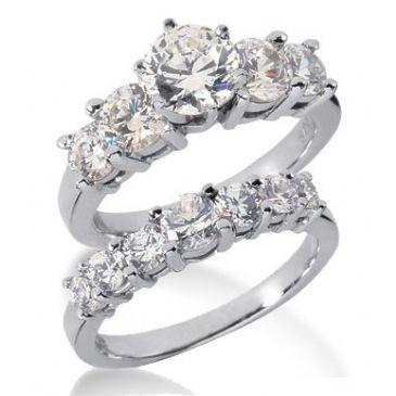 18K Gold Diamond Engagement Bridal Set 3.09ctw 4010-18KENBR