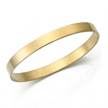 6.5mm Plain Flat Womens Gold Bangle