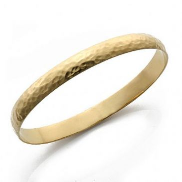 8mm Plain Dome Hammered Womens Gold Bangle