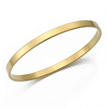 4.5mm Plain Flat Heavyweight Womens Gold Bangle