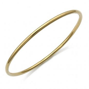 2.5mm 360 Degree Plain Round Womens Gold Bangle