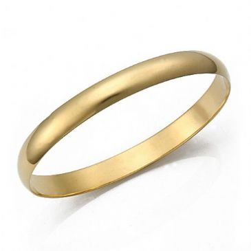 8mm Plain Dome Heavyweight Womens Gold Bangle