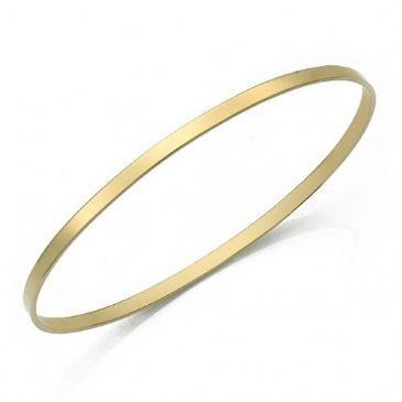 3mm Plain Flat Womens Gold Bangle