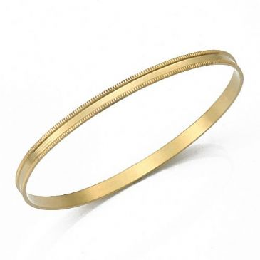 14k Gold 4mm Flat Milgrain Womens Gold Bangle 016-4FMWGB