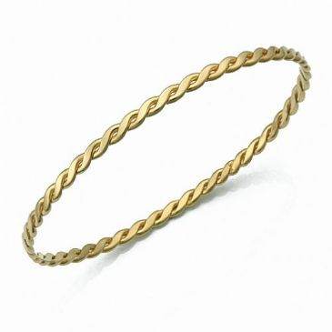 3.5mm Classic Eternity Woven Womens Gold Bangle