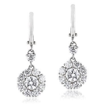18K Gold & 2.78 Carat VS Diamond Designer Cluster Earrings