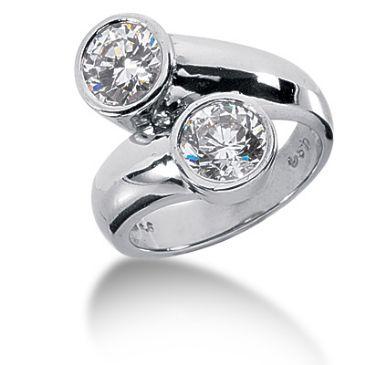 18K Bezel Set Doubled Round Brilliant Diamonds (2.00ctw.)