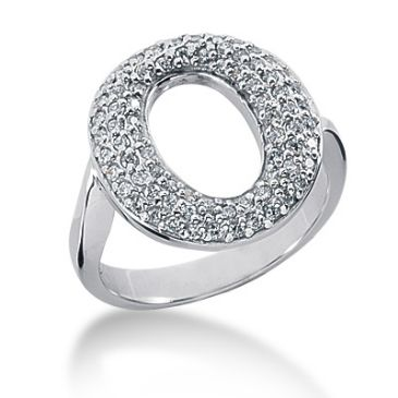 18K O Shaped Round Brilliant Diamond Anniversary Ring (0.56ctw)