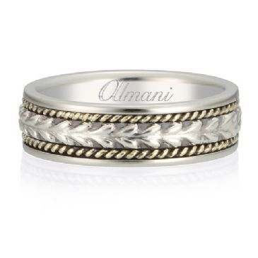 18K Gold 6.5mm Almani Antique Wedding Band Arrowhead Design White Gold