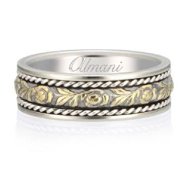 18K Gold 6.5mm Two Tone Almani Antique Wedding Band Flower Vine Design
