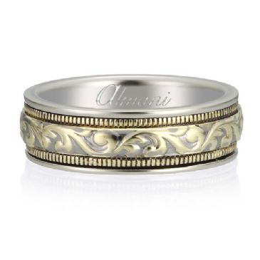 18K Gold 6.5mm Two Tone Almani Antique Wedding Band Interlock Design
