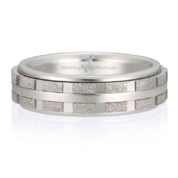 18K Gold 6mm Diamond Cut Wedding Band Intersection Design 720