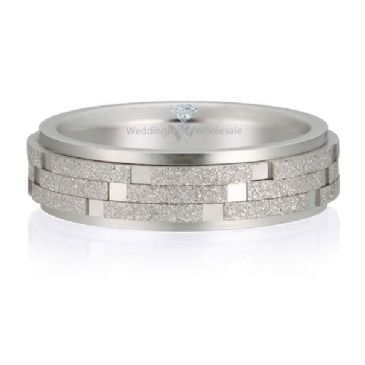 18K Gold 6mm Diamond Cut Wedding Band Checker Board Design 721