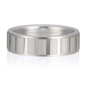 18K Gold 6mm Diamond Cut Wedding Band Segment Design 722