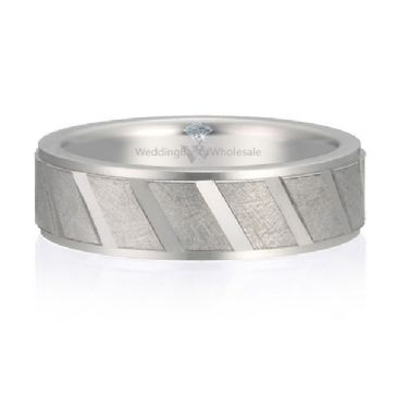 18K Gold 6mm Diamond Cut Wedding Band Oblique Design 723