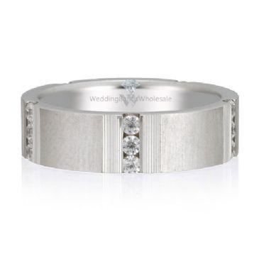 18K Gold 6mm Diamond Wedding Bands Rings Row 0.45ctw.
