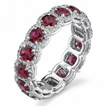 18k Gold Prong and Pave Set 4.22ctw. Round Diamond & Ruby Eternity Band DEB78518K
