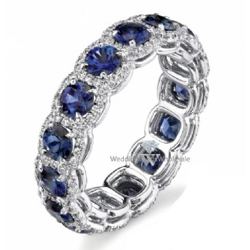 18k Gold Prong and Pave Set 4.22ctw. Round Diamond & Sapphire Eternity Band DEB78618K