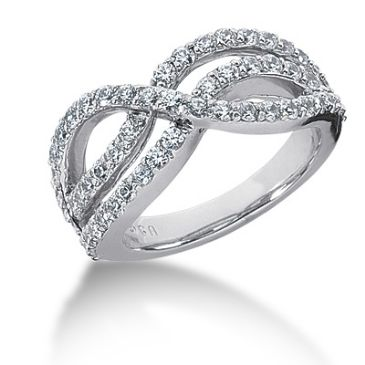 18K Looped Round Brilliant Diamond Anniversary Ring (1.08ctw.)