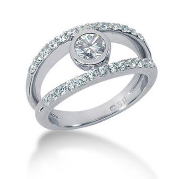 18k Jaw Drop Round Brilliant Diamond Anniversary Ring (1.02ctw.)