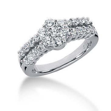 18K Round Brilliant Imbedded Diamond Anniversary Ring (0.97ctw.)