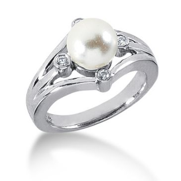 18K Compass Round Brilliant, Pearl Centered Diamond Anniversary Ring (0.10ctw.)