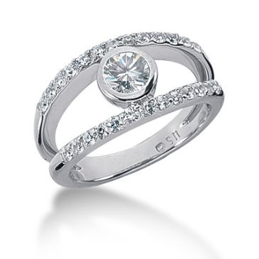 18K Split Round Brilliant Diamond Anniversary Ring (0.77ctw.)