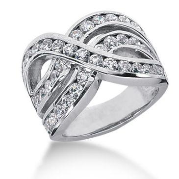 18K Swirled Wave Round Brilliant Diamond Anniversary