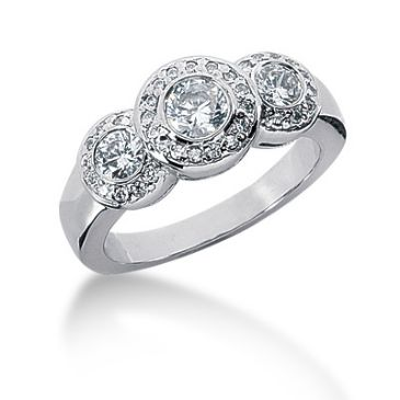18K Three Center Round Brilliant Diamond Anniversary Ring (0.78ctw.)