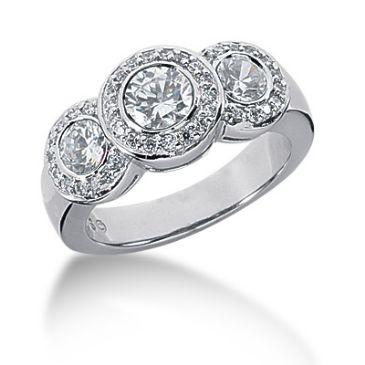18K Tripad Main Round Brilliant Diamond Anniversary Ring (1.3ctw.)